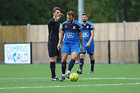 Mitchell Parker of Hartley Wintney protests to referee Ciaran Fidler during Horsham vs Hartley Wintney, Friendly Match Football at Hop Oast on 13th July 2019