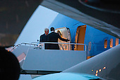 United States President Barack Obama (R) and former US President Bill Clinton (L) walk off Air Force One upon their returns to Andrews Air Force Base form Israel, where they attended the funeral of Shimon Peres, in Maryland, USA, 30 September 2016.<br /> Credit: Jim LoScalzo / Pool via CNP