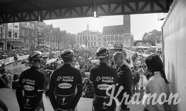 announcer Michel Wuyts interviewing Tom Boonen (BEL/OPQS) on the start podium<br /> <br /> Dwars Door Vlaanderen 2014
