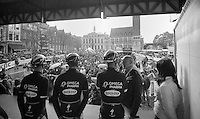 announcer Michel Wuyts interviewing Tom Boonen (BEL/OPQS) on the start podium<br /> <br /> Dwars Door Vlaanderen 2014