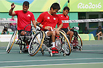 (L-R)<br /> Satoshi Saida,<br /> Shingo Kunieda,<br /> Takuya Miki (JPN),<br /> SEPTEMBER 15, 2016 - Wheelchair Tennis : <br /> Men's Doubles Bronze Medal match<br /> at Olympic Tennis Centre<br /> during the Rio 2016 Paralympic Games in Rio de Janeiro, Brazil.<br /> (Photo by Shingo Ito/AFLO)