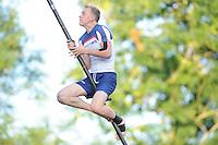 FIERLJEPPEN: GRIJPSKERK: 17-07-2013, 1e Klas wedstrijd, Senioren Topklasse, Hans Ulco de Boer, ©foto Martin de Jong