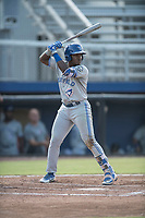 Miguel Hiraldo (5) of the Bluefield Blue Jays at bat during a game against the Danville Braves at American Legion Post 325 Field on July 28, 2019 in Danville, Virginia. The Blue Jays defeated the Braves 9-7. (Tracy Proffitt/Four Seam Images)