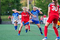 Boston, MA - Friday May 19, 2017: Lindsey Horan and Adriana Leon during a regular season National Women's Soccer League (NWSL) match between the Boston Breakers and the Portland Thorns FC at Jordan Field.