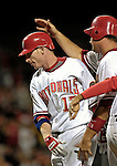 15 September 2007: Washington Nationals first baseman Robert Fick (left) gets a tap on the head from Ryan Zimmerman after hitting a 3-run homer against the Atlanta Braves at Robert F. Kennedy Memorial Stadium in Washington, DC. The Nationals defeated the Braves 7-4 in the second game of their 3-game series...Mandatory Photo Credit: Ed Wolfstein Photo