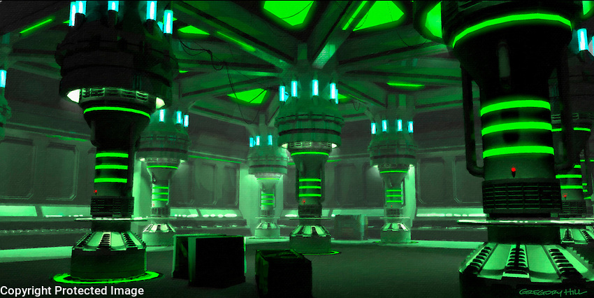 A dim interior space lit only by the green glow of the reactors.