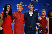 Simone Johnson, Sharon Stone, Garrett Hedlund &amp; Kristen Bell at the nominations announcement for the 75th Annual Golden Globe Awards at The Beverly Hilton Hotel, Beverly Hills, USA 11 Dec. 2017<br /> Picture: Paul Smith/Featureflash/SilverHub 0208 004 5359 sales@silverhubmedia.com