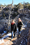 Women hiking on South Kaibab Trail in winter