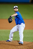 South Bend Cubs relief pitcher Jared Cheek (8) delivers a pitch during a game against the Clinton LumberKings on May 5, 2017 at Four Winds Field in South Bend, Indiana.  South Bend defeated Clinton 7-6 in nineteen innings.  (Mike Janes/Four Seam Images)