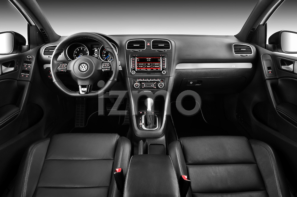 Straight dashboard view of a 2011 Volkswagen Golf R 5 Door Hatchback Stock Photo