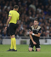 Dusan Tadic of Ajax looks up at referee Antonio Mateu Lahoz<br /> <br /> Photographer Rob Newell/CameraSport<br /> <br /> UEFA Champions League - Tottenham Hotspur v Ajax - Tuesday 30th April 2019 - White Hart Lane - London<br />  <br /> World Copyright © 2018 CameraSport. All rights reserved. 43 Linden Ave. Countesthorpe. Leicester. England. LE8 5PG - Tel: +44 (0) 116 277 4147 - admin@camerasport.com - www.camerasport.com