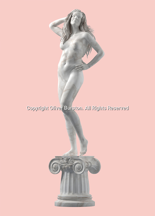 Marble statue of modern, confident, naked woman on pedestal
