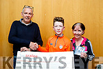 Sing for Charity<br /> ---------------------<br /> Chairperson of Open Arms Kerry,Tralee,  Gerard Collins accepts a Cq for 200euro from Joshua Roche, Tralee who produced a CD, Talking to the Moon and raised the money for the charity, also pictured is Joshua's mom Sharon.