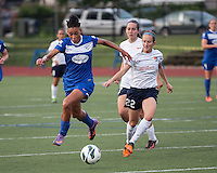 Boston Breakers forward Lianne Sanderson (10) brings the ball forward with Sky Blue FC midfielder Manya Makoski (22) and Sky Blue FC midfielder Katy Frierson (17) in pursuit.  In a National Women's Soccer League Elite (NWSL) match, Sky Blue FC defeated the Boston Breakers, 3-2, at Dilboy Stadium on June 16, 2013