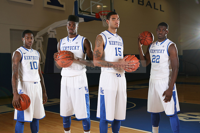Archie Goodwin, Nerlens Noel, Willie Cauley-Stein and Alex Poythress at basketball photo day in Lexington, Ky., on Monday, September 17, 2012. Photo by Tessa Lighty | Staff