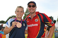 Olympic Hockey Bronze Medalist Chloe Rogers poses for a photograph with Graham Napier of Essex - Essex Eagles vs Netherlands - Clydesdale Bank 40 Cricket at Castle Park, Colchester - 19/08/12 - MANDATORY CREDIT: Gavin Ellis/TGSPHOTO - Self billing applies where appropriate - 0845 094 6026 - contact@tgsphoto.co.uk - NO UNPAID USE.