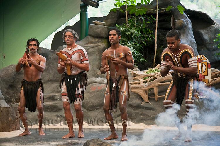 Indigenous dancers at Tjapukai Aboriginal Cultural Park.  Smithfield, Cairns, Queensland, Australia