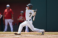 Jon Rosoff (7) of the Army Black Knights follows through on his swing against the North Carolina State Wolfpack at Doak Field at Dail Park on June 3, 2018 in Raleigh, North Carolina. The Wolfpack defeated the Black Knights 11-1. (Brian Westerholt/Four Seam Images)