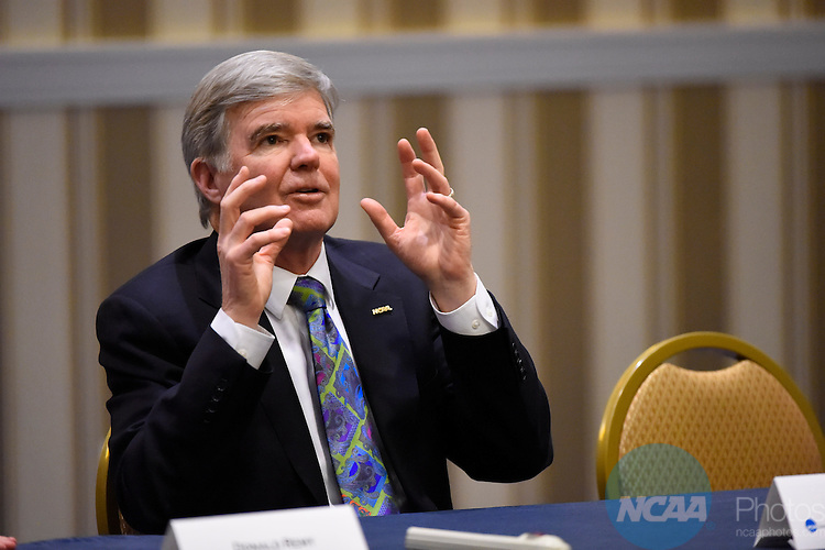 14 JAN 2015:  The Division II Student-Athlete Advisory Committee meeting takes place at the 2015 NCAA Convention held at the Gaylord National Resort and Convention Center in National Harbor, MD.  Jamie Schwaberow/NCAA Photos  (Pictured:  Dr. Mark Emmert)