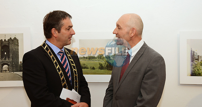27/06/2013 – Mayor of Drogheda Richie Culhane chatting with Phillippe Milloux  of The Alliance Fancaise in Dublin at the official opening of the exhibition of photographs by Marguerite Mespoulet and Madeleine Mignon for the Albert Kahn Collection (1913). Photo: Andy Spearman. www.newsfile.ie
