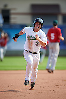 Clinton LumberKings pinch runner Brock Hebert (3) running the basesduring a game against the Great Lakes Loons on August 16, 2015 at Ashford University Field in Clinton, Iowa.  Great Lakes defeated Clinton 3-2.  (Mike Janes/Four Seam Images)