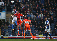 Blackburn Rovers' Darragh Lenihan is tackled fora high ball by Blackpool's Sean Longstaff<br /> <br /> Photographer Rachel Holborn/CameraSport<br /> <br /> The EFL Sky Bet League One - Blackburn Rovers v Blackpool - Saturday 10th March 2018 - Ewood Park - Blackburn<br /> <br /> World Copyright &copy; 2018 CameraSport. All rights reserved. 43 Linden Ave. Countesthorpe. Leicester. England. LE8 5PG - Tel: +44 (0) 116 277 4147 - admin@camerasport.com - www.camerasport.com