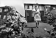 August 1981. Newcastle area, England. Bill and Bertha Whitley living in Black Hill Consett. Bill was a worker for British Steel, unemployed for 2 years, he spends his time tending to his rose garden.