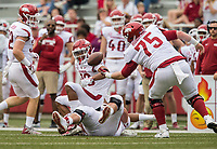 Hawgs Illustrated/BEN GOFF <br /> Silas Robinson, Arkansas offensive lineman, catches a tipped pass in the first quarter Saturday, April 6, 2019, during the Arkansas Red-White game at Reynolds Razorback Stadium.