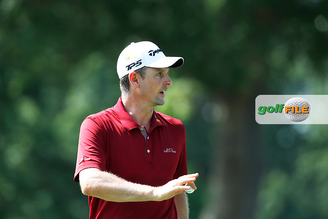 Justin Rose (ENG) reacts to making a birdie putt on the 8th hole during the first round of the 100th PGA Championship at Bellerive Country Club, St. Louis, Missouri, USA. 8/9/2018.<br /> Picture: Golffile.ie | Brian Spurlock<br /> <br /> All photo usage must carry mandatory copyright credit (© Golffile | Brian Spurlock)