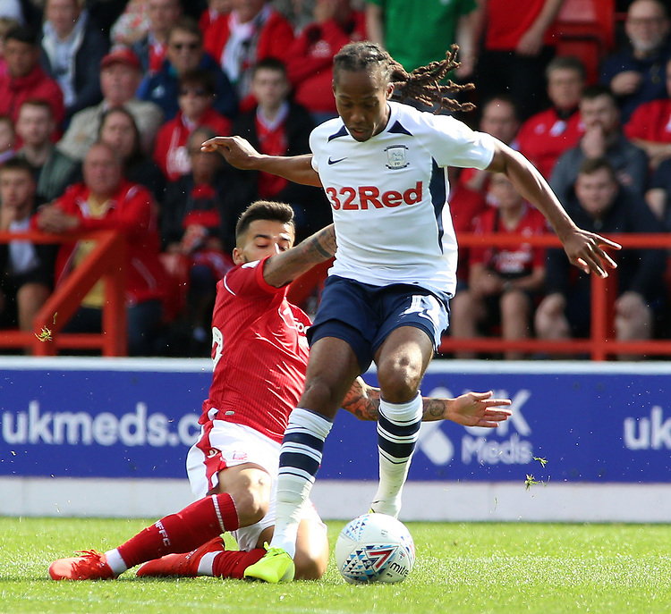 Preston North End's Daniel Johnson gets away from Nottingham Forest's Tiago Silva<br /> <br /> Photographer David Shipman/CameraSport<br /> <br /> The EFL Sky Bet Championship - Nottingham Forest v Preston North End - Saturday 31st August 2019 - The City Ground - Nottingham<br /> <br /> World Copyright © 2019 CameraSport. All rights reserved. 43 Linden Ave. Countesthorpe. Leicester. England. LE8 5PG - Tel: +44 (0) 116 277 4147 - admin@camerasport.com - www.camerasport.com