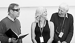 """King Lear"" rehearsed reading rehearsals. Old Vic Theatre. Director: Jonathan Miller. L to R: Michael York, Felicity Dean, Jonathan Miller."