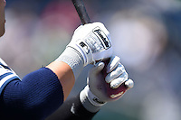 Tampa Yankees designated hitter Dante Bichette Jr. (25) in the dugout wearing Franklin batting gloves during a game against the Clearwater Threshers on April 9, 2014 at Bright House Field in Clearwater, Florida.  Tampa defeated Clearwater 5-3.  (Mike Janes/Four Seam Images)