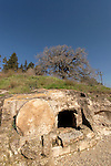 Israel, Menashe Heights. An ancient burial cave by road 6953