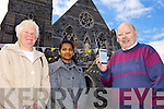 TUNED IN: Listowel parishioners tuning into Radio One for the broadcast of Sunday Mass from St Mary's Church for three consecutive Sundays, l-r: Mary Shanahan, Sonia Jose, Billy Moloney (Parish Clerk).