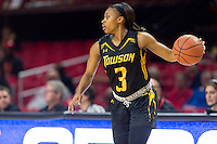 College Park, MD - DEC 6, 2016: Towson Tigers guard Sianni Martin (3) brings the ball up court during game between Towson and Maryland at XFINITY Center in College Park, MD. The Terps defeated the Tigers 97-63. (Photo by Phil Peters/Media Images International)