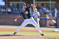 Asheville Tourists starting pitcher Jesus Tinoco (36) delivers a pitch during a game against the Charleston RiverDogs at McCormick Field on July 9, 2016 in Asheville, North Carolina. The RiverDogs defeated the Tourists 10-9. (Tony Farlow/Four Seam Images)
