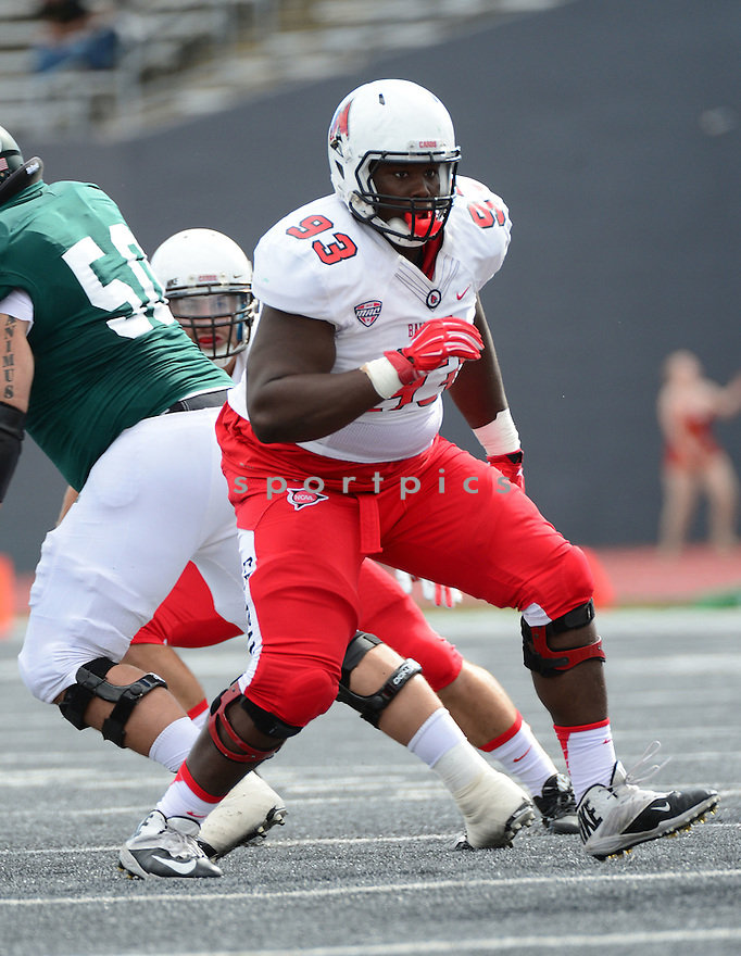Ball State Cardinals Kevin Willis (93) during a game against the Eastern Michigan Eagles on September 19, 2015 at Rynearson Stadium in Ypsilanti, MI. Ball State beat Eastern Michigan 28-17.