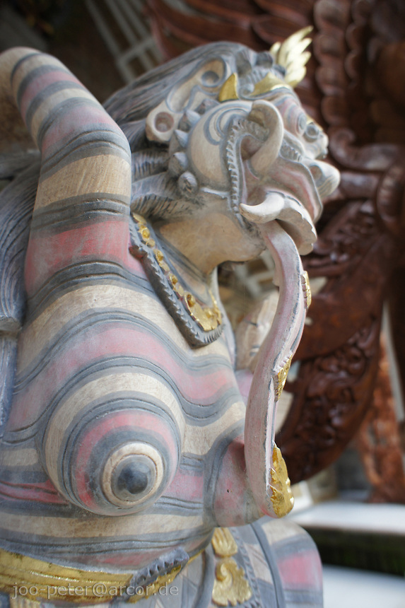 wood sculpture of a spirit connected to devine witch Rangda, Bali, archipelago Indonesia, 2010