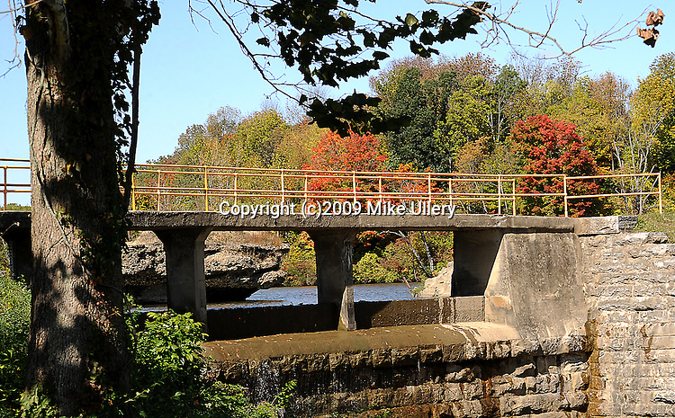 Staff Photo/Mike Ullery.The area around the spillway at Swift Run in Piqua is beginning to look like autumn.