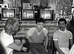 """Roger Taylor, John Deacon and Freddie Mercury of Queen attend Queen Press Conference for """"Hot Space"""" at Crazy Eddie's on July 27, 1982  in New York City."""