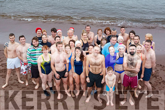 A large group braved the chilly waters at Brandon pier on Christmas day for the annual festive swim, with only 13 the previous year.