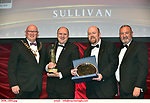 16-6-2019:   Greg O'Leary, Oyster Lane Theatre Group, Wexford-Michael Collins- a Musical Drama winner of the Best Overall Show award in the INEC Killarney at the weekend receiving the trophy from Seamus Power, President, AIMS left and Rob Donnelly, Vice-President and adjucator Billy Rea, right.<br /> Photo: Don MacMonagle - macmonagle.com<br /> <br /> repro free photo from AIMS<br /> <br /> AIMS PRESS RELEASE: There was plenty of glitz and glamour in Killarney on Saturday night as The Association of Irish Musical Societies has its Annual Awards Ceremony in Killarney. Over 1,500 people could be heard over the Kerry mountains as the winners were announced by MC Fergal D'Arcy. Many societies were double winners on the night including UCD Musical Society, Dublin were dancing all the way to the trophies winning Best Choreography and Best Choreographer for Leah Meagher for Cabaret and  Tullamore Musical Society who took their moment as Chris Corroon won Best Male Singer for his sinful performance as Henry Jekyll in Jekyll &Hyde and also Director Paul Norton who'd plenty to celebrate picking Best Director for  the same show. The moment was once again taken by Jekyll&Hyde by Dùn Laoighaire Musical&Dramatic Society as Kevin Hartnett took up Best Male Singer in the Sullivan category.Nenagh Youth Musical Society raised their voices high and took home Best Ensemble. It was a superior night for Enniscorthy Musical Society by winning Best Comedienne for Jennifer Byrne as Mother Superior and Best Technical too. Portlaoise Musical Society rose to the top by taking home Best Overall Show in the Gilbert section for their stunning production of Titanic. Oyster Lane Theatre Group, Wexford flew their flag high taking home Best Overall Show in the Sullivan Section for their breathtaking production of Michael Collins-a Musical Drama.<br /> Other winners on the night included Best Comedian for Ronan Walsh as Officer Lockstock in Urinetown for Trim Musical Society, Best Actress in a Supporting Role for  Roisin Lawless