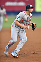 Greenville Drive third baseman Triston Casas (38) reacts to the ball during a game against the Asheville Tourists at McCormick Field on July 10, 2019 in Asheville, North Carolina. The Tourists defeated the Drive 1-0. (Tony Farlow/Four Seam Images)