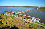 A barge with a cargo of coal passes northbound through a lock on the Mississippi river as seen from Eagle Point State Park near Dubuque, Iowa