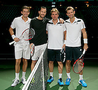 Rotterdam, The Netherlands. 15.02.2014. Michael Llodra(FRA)/ Nicolas Mahut(FRA) and Mariusz Fyrstenberg(POL)/ Marcin Matkowski(POL) at the ABN AMRO World tennis Tournament<br /> Photo:Tennisimages/Henk Koster