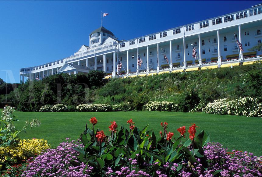 Grand Hotel, Mackinac Island, MI, Lake Huron, Michigan, Historic Grand Hotel on Mackinac Island.