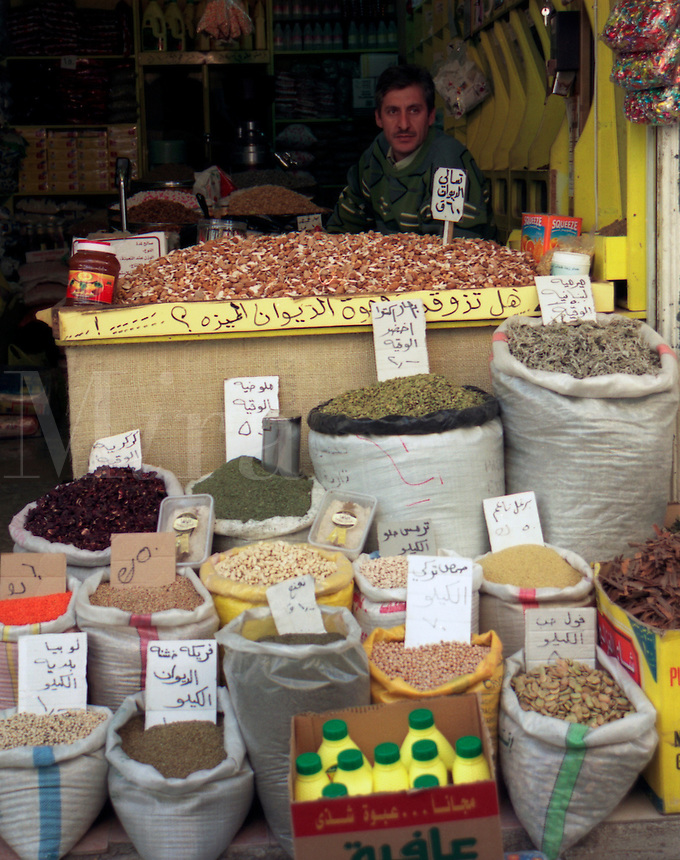 A shopkeeper in the village of Salt, Jordan, The Middle East