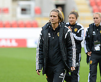 20160408 - ROTHERHAM , ENGLAND : Belgian Maud Coutereels pictured during the female soccer game between England and The Belgian Red Flames - Belgium , the fourth game in the qualification for the European Championship in The Netherlands 2017  , Friday 8 th April 2016 at AESSEAL New York Stadium in Rotherham , England . PHOTO DAVID CATRY
