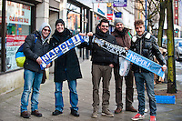 Thursday 20 February 2014<br /> Pictured: Napoli Supporters pose for the camera in Swansea's High Street<br /> Re: Napoli Supporters visit Swansea for tonights UEFA Leauge clash