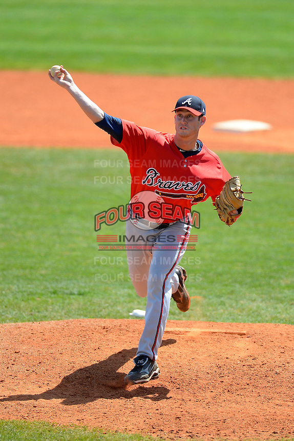 Atlanta Braves pitcher David Peterson #39 during a minor league Spring Training game against the Philadelphia Phillies at Al Lang Field on March 14, 2013 in St. Petersburg, Florida.  (Mike Janes/Four Seam Images)